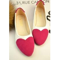 Chaussures Plates Douce Mignonne à la Mode au Bout Pointu et avec une Impression de Cœur