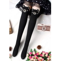 Cute adorable ours de bande dessinée de la soie Spliced ​​collants chauds Bas