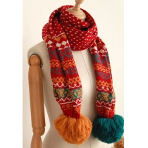 Doux Rétro Pompon figure géométrique flocons de neige écharpe tricotée