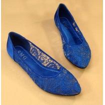 Rétro élégantes solides chaussures florale Couleur Crochet Lace Appartements
