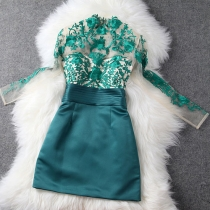 Vintage Elegant Semi-sheer Floral Embroidered Contrast Color A-lined Party Dress