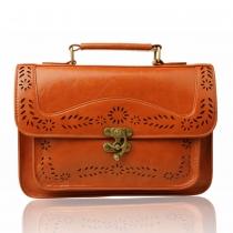 Vintage Preppy Solid Color Flowers Cutout Flap Messenger Bag Handbag