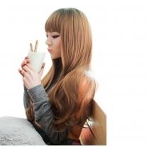 Perruque Cheveux Artificiels Charmante Elégante Longues Crêpelés Avec Franges Régulières Cheveux Postiches Bouclés