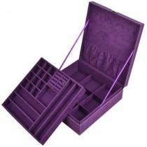 Étui de rangement boîte pourpre à deux couches peluches bijoux / organisateur / affichage avec serrure, plus Kloud chiffon de nettoyage