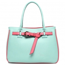 Cute Contrast Candy Color Buckles Purse Tote Handbag Bag