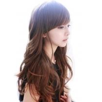 Longue pleine perruque de partie des filles classiques (brun clair)