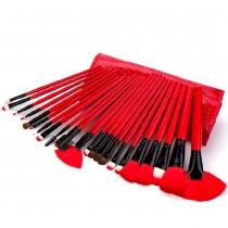 Professionnels de beauté 24 pcs pinceaux de maquillage cosmétiques Set avec Noir Rouge sac de caisse