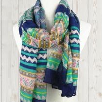 Folk style rétro ondulés Stripe Imprimer écharpe de voile