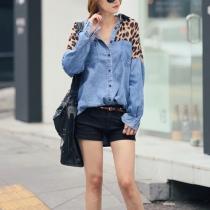 Casual manches chauve-souris d'impression de léopard Loose Fit Denim Shirt Blouse