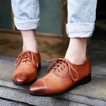 Chaussures à Talon Plat/Bas Elégantes Rétro à Lacet Montant Perforées à Bout Pointu Colombie Oxford