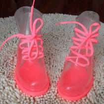 Candy Color Lace Up Transparent Galoshes Rain Boots