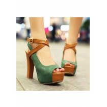 Style européen Peep-toe Green Cross Strap de chaussures à talons hauts