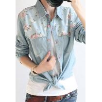 Rétro impression florale épissé Denim Shirt Blouse
