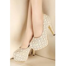 Élégantes chaussures sexy dentelle florale tranches Sequin à talons hauts Party