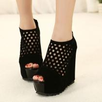 Solide Peep Toe couleur détouré Chaussures Noir Platform Sandal haute Wedge