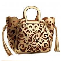 Creative Floral Cutout Double Tassel Tote Purse Handbag Basket Bag