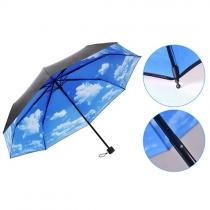 Blue Sky White Clouds Imprimer parapluie pliant pour UV / Protection contre la pluie