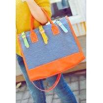 Colorful Cute Contrast Color Purse Tote Handbag Crossbody Shopping Bag