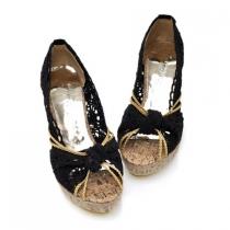 High Heel Wedge tressé Crochet Lace peep toes Sandale