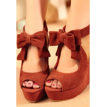 Bowknot doux Peep-toe compensées Chaussures à talons hauts