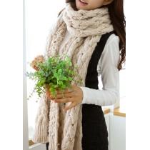 Loisirs simple chaudes de femmes Pure Color Ouvrir Knit Long Scarf