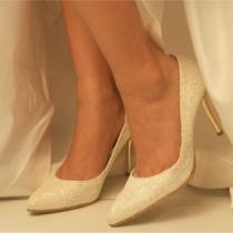 Chaussures élégantes de charme dentelle Spliced Stiletto talons hauts Party