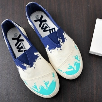 Casual Graffiti Spliced Contrast Color Slip On Canvas Flats