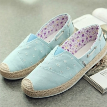 Casual Splices Slip On Breathable Canvas Flat Shoes