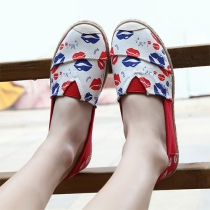 Contrast Color Lip Print Slip On Espadrille Loafer