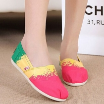 Fashion Spliced Contrast Color Slip-on Canvas Shoes