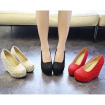 Chaussures à Talons Compensés Hauts Wedge Fashion Douces Elégantes Dentelles structurées en Filet