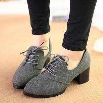 Chaussures de Printemps Rétro Chic Cool à Talons Bas au Bout Pointu à Lacet Montant