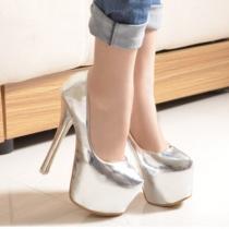 Chaussures à Talons Aiguilles Elégantes Sexy Brillantes à la Mode Super à Semelles Compensées au Bout Rond