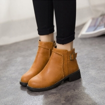 British Style Thick Heel Round Toe Martin Booties