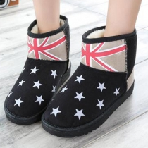 Fashion Stars Print Round Toe Flat Heel Warm Snow Boots