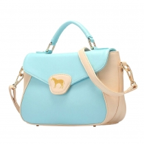 Fashion Pony Embroidery Contrast Color Handbag Cross Body Bag