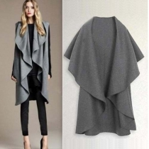 Veste Cape-style Ample Surdimensionnée à la Mode à Revers Irrégulier