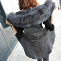 Veste Gilet Elégant Sublime à la Mode au Col de Fourrure Artificielle en Couleur Pure