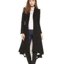 Trench Manteau Noir Long Elégant à la Mode Sublime en Couleur Pure à Manches Longues avec l'Ourlet Formé en Queue d'Aronde