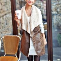 Gilet Chaud Chic Elégant à la Mode à Revers en Couleur Pure