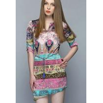 Asym Hem Colorful Floral Print Half Sleeve Bodycon Dress