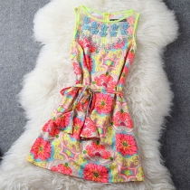Celebrity Beaded Colorful Flower Print Belted Tank Dress