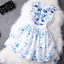 Elegant Blue Floral Print Tank Top Bodycon Skater Dress