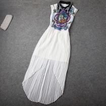Vintage Rhinestones Dip Hem Print Bodycon Pleated Maxi Dress