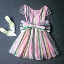 Retro Style Colorful Strip Pattern Bowknot Tutu Chiffon Dress