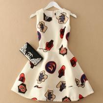Sweet Floral Print Gathered Waistline Sleeveless Dress