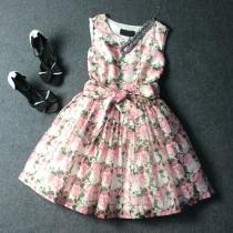 Sweet Floral Print Bowknot Wrinkle Sleeveless Tutu Dress