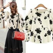 Bowknot Half Sleeve Floral Embroidery Loose Blouse Top