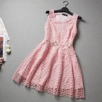 Fashion Handwork Diamond-encrusted Applique Sleeveless Dress