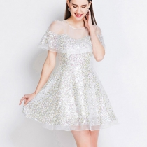 Sexy Elegant Hollow out Gauze Sequined Spliced Dress